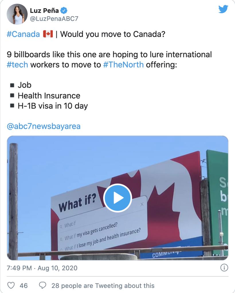Anúncios chamando trabalhadores de tecnologia ao Canadá
